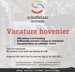 Vacature, hovenier, Barneveld, Schaffelaar Hoveniers